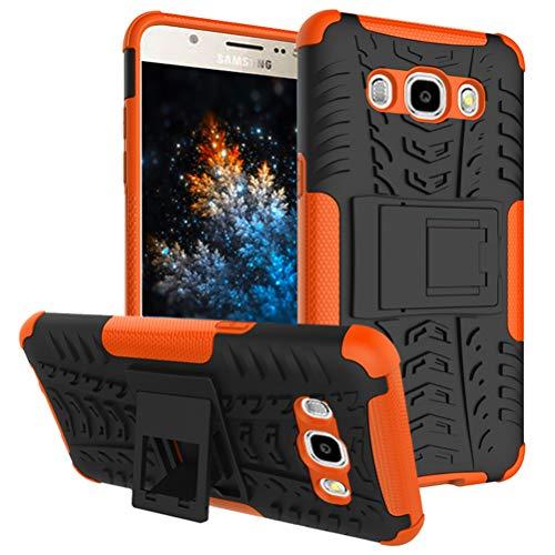 MRSTER Samsung J1 2016 Custodia, [Heavy Duty Protezione] [Dual Layer] Difficile Silicone Kickstand Ibrida Shock Proof Cover Custodia Compatibile Samsung Galaxy J1 2016. Hyun Orange