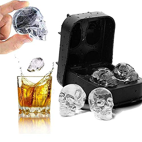 3D Skull Ice Tray Skull Silicone Moulds Cyalean Skull Flexible Silicone Ice Cube Mould Tray Skull Ice Moulds for Whiskey Ice and Cocktails, Beer and More