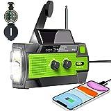 2020 Newest Emergency Radio - Hand Crank Radio, SUNRI 4000mAh-Solar Portable Weather Radio, Charger for Cell Phone, 1W LED Flashlight & Motion Sensor Reading Lamp, SOS Alarm, AM/FM/NOAA, Compass