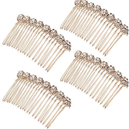 4 Packung Strass Legierung Blume Haar Seite Kämme Hochzeit Brautschmuck Haarspangen für Damen, Rose Gold