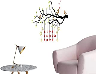 Alexandear Live Laugh Love Wall Mural Wallpaper Stickers Couple of Birds in Love Sitting on a Branch with an Inspirational Quote Bedroom Wall Multicolor W16 x H20