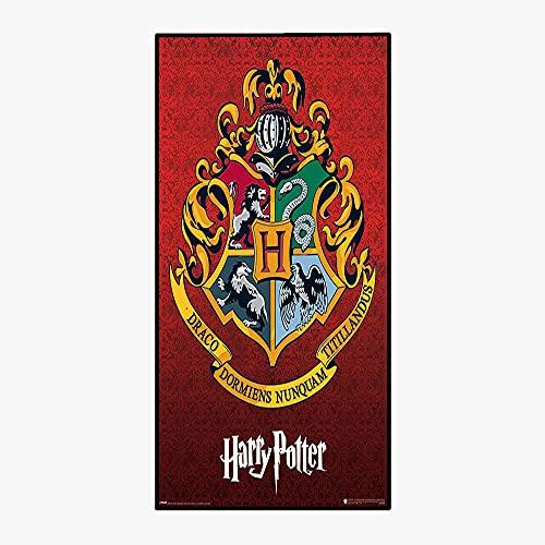 Aatensou Harry-Potter ręcznik plażowy z motywem domku Hogwartu, ręcznik kąpielowy, 100% mikrofibra (Harry -11,150 x 180 cm)