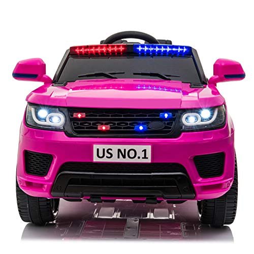 Sandinrayli Kids Ride-on Car 12V Kids Electric Ride On Police Car SUV Truck Toy with Parental Remote Control, Flashing LED Light, Siren, Intercom, Bluetooth, Music, Spring Suspension (Pink)