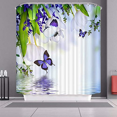 Purple Fabric Waterproof Polyester Shower Curtain Bathroom Curtain Decorative Shower Curtain liner With 12 Hooks 72 x 72 inches