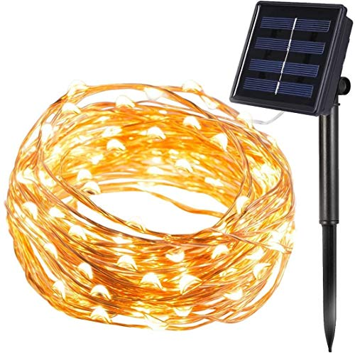 Innoo Tech 200er LED Solar Kupferdraht Lichterkette Warmweiß & Hellgelb 20 Meter, mit 1,5 Meter Zuleitung, Wasserdichte Solar Außen Sternen Lichterketten Beleuchtung mit 8 Modi und Memory-Funktion