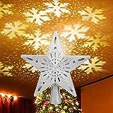 Elover Estrella Árbol Topper con Luces, Estrella Árbol Top Proyector Ángulo Ajustable con Luces LED,3D Colgante Árbol de Navidad Topper Adorno para Navidad Fiesta Decoración Interior Regalo(Plata)