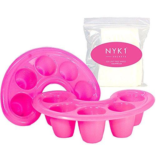 NYK1 Finger Maniküre-Schalen zum Einweichen für Schellack-Gel und Acryl-Nägel Mit 200 quadratischen fusselfreien Baumwoll-Nageltüchern mit Reibeeffekt. Füllen Sie die Schalen mit Nagellackentferner, um Gellack zu entfernen