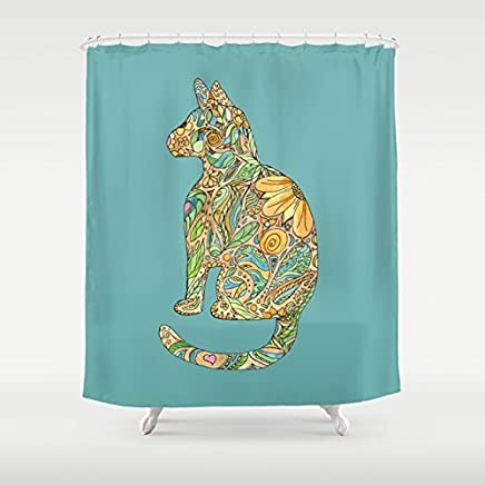Calico Cat On Blue Shower curtain, floral, kitty, kitten, fine art decor, bathroom, beautiful curtain
