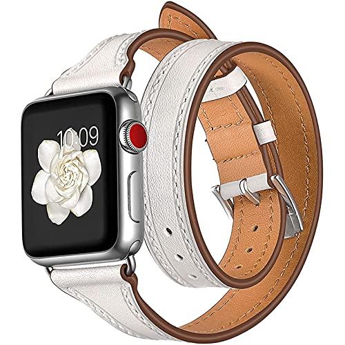 Compatible con Apple Watch Band 44Mm 42Mm 40Mm 38Mm, Correa De Repuesto Delgada De Cuero Genuino con Diseño De Doble Recorrido para Iwatch Series 6 5 4 3 2 1, SE,38mm/40mm