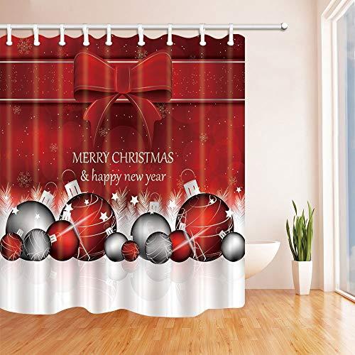 LRSJD kerstachtergrond met kerstballen in rood douchegordijnen van stof badgordijn douchegordijn incl. haken 71 x 71 cm
