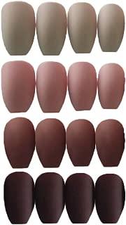 MISUD Coffin Fake Nails 96 Pcs Matte Pure Color Full Cover Press-on Nail Ballet False Nails Kits with Nail Adhesive
