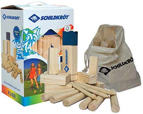 Schildkröt Funsports Unisex – volwassenen Zwedenschacht FSC Eco hout kubb XL met tas, kleur, 1size