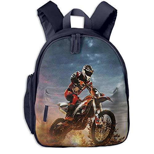 Kinderrucksack Motocross Dirt Bike, Schulrucksack für Mädchen und Jungen Schultasche Schulranzen Teenager Backpack Daypack Freizeitrucksack Kinder Rucksack