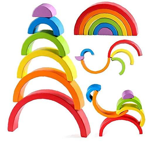 OMMO LEBEINDR Madera del Arco Iris Stacker Grande de anidación Puzzle de Juguetes educativos Bloques de construcción Bloques para niños Muchacha del Muchacho Los niños pequeños