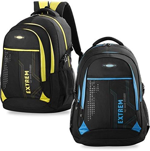 großer Herren - Rucksack Schultasche Freizeittasche Markentasche Bag Street Arbeitstasche, schwarz/gelb, Maße: 32 cm x 47 cm x 20 cm