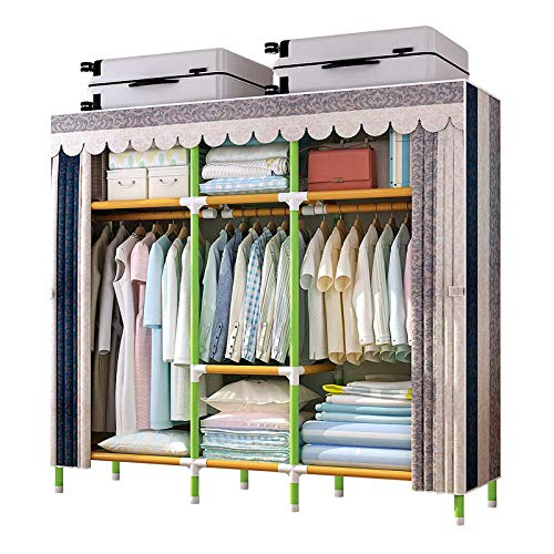 YOUUD 65 Inches Wardrobe Storage Closet Portable Closet Shelves Colored Rod Closet Storage Organizer Quick and Easy to Assemble Extra Strong and Durable