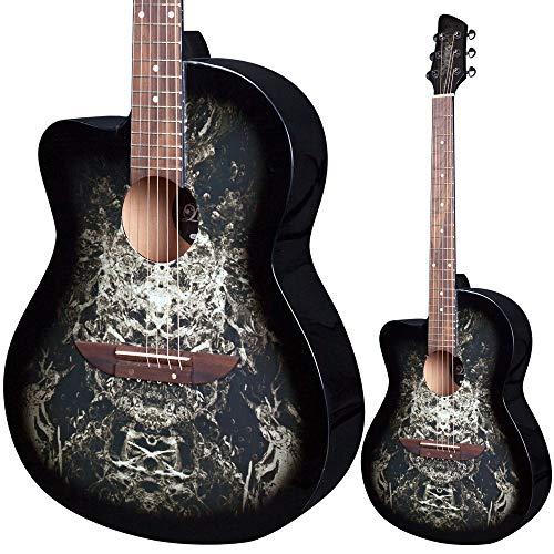 Lindo chitarra acustica per mancini 933C 'Alien', colore nero, e GigBag