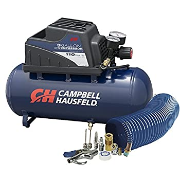 Air Compressor Portable 3 Gallon Horizontal Oilless w/ 10 Piece Accessory Kit Including Air Hose & Inflation Gun  Campbell Hausfeld FP209499AV