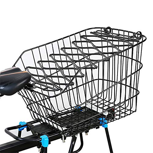 Best Prices! DEPRQ Bicycle Basket Bike Basket Metal Bicycle Grocery Pannier with Lid Cycling Rack Ba...
