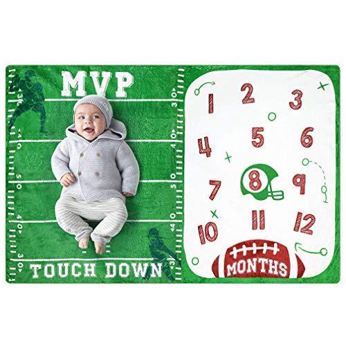 YAOXI Baloncesto Bebé Mensual Milestone Blanket, 150 * 120 Suave Grande Manta como Tapete De Juego para Bebé Personalizado Comodidad Cochecito Manta Lanzar,D