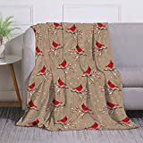 Miblor Cardinal Bird on The Snowy Branch with Berries Plush Throw Blanket for Kids Adults Lightweight Super Soft Warm Fleece Blanket for Bed Couch Sofa (60 x 80 Inches)