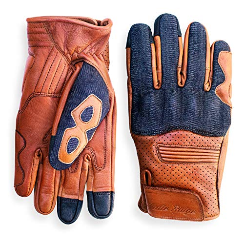 Denim & Leather Motorcycle Gloves (Camel) with Mobile Phone Touchscreen by Indie Ridge (X-Large)