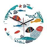Vosarea - Orologio da parete in acrilico a forma di animale, silenzioso, per soggiorno, camera, ristorante, decorazione da parete, motivo pesci marini