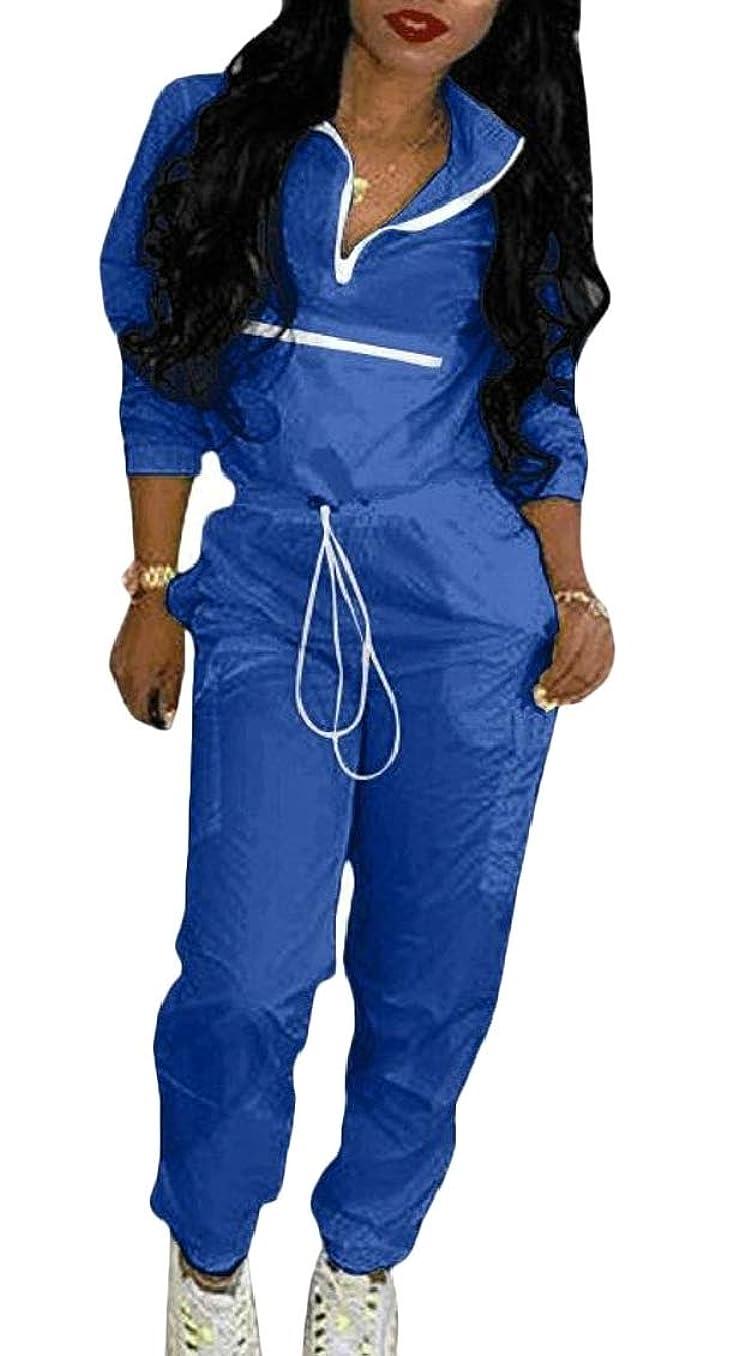 ムスサミュエルフルーティーレディース2ピース衣装カラーブロックウィンドブレーカージャケットトップとパンツ