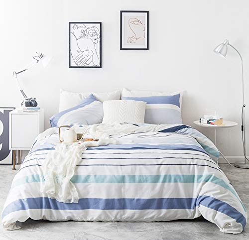 SUSYBAO 3 Piece Duvet Cover Set 100% Natural Cotton Queen Size Blue and White Watercolor Striped Bedding Set with Zipper Ties 1 Horizontal Stripes Duvet Cover 2 Pillowcases Hotel Quality Soft Durable