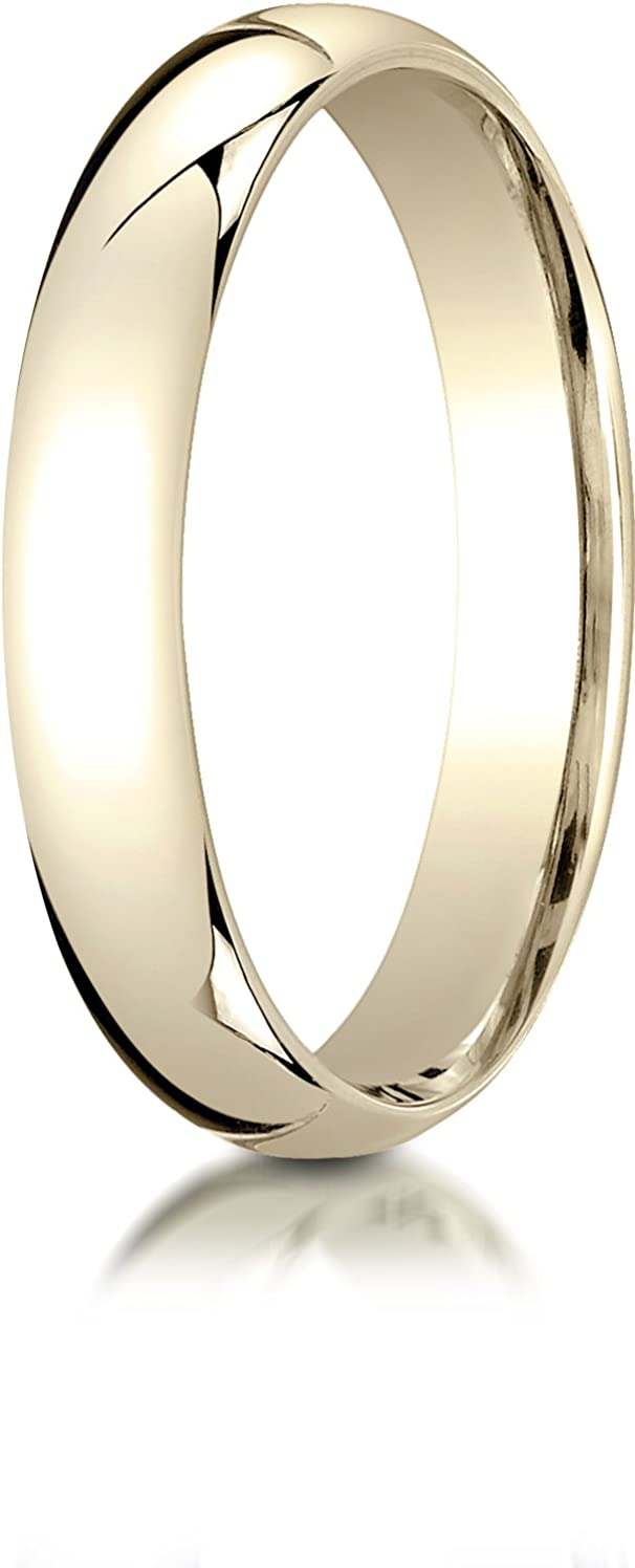 Benchmark 14K Yellow Gold 4mm Slightly Domed Super Light Comfort-Fit Wedding Band Ring (Sizes 4-15)