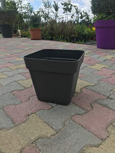 Ve.Ca Veneta Casalinghi Vaso Quadrato FIORIERA Quadrata plastica Forte con Ruote 40 CM Colore Antracite Modello Cleo AMDGarden