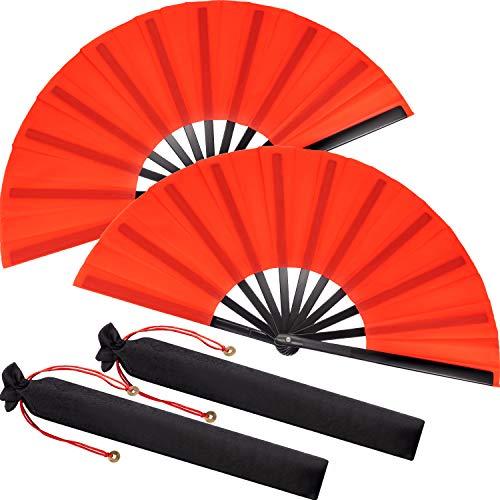 Grande Rojo Abanico de Mano Plegable Chinese Tai Chi Abanico Plegable para...