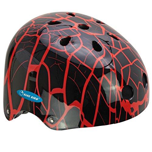 Ideale Monz Fahrradhelm, BMX- und Skaterhelm Gr. 54-58 cm, Farbe:Spinnennetz/rot, Größe:56-58