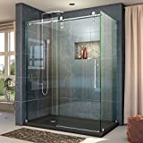 DreamLine Enigma-Z 34 1/2 in. D x 60 3/8 in. W x 76 in. H Fully Frameless Sliding Shower Enclosure in Polished Stainless Steel, SHEN-6234600-08