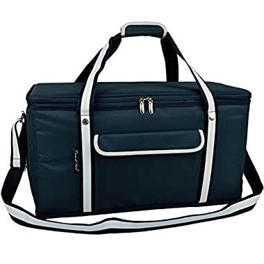Picnic at Ascot Ultimate Travel Cooler - 36 Quart - Combines Best Qualities of Hard & Soft Collapsible Coolers - Navy