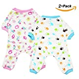 Scheppend 2-Pack Pet Clothes Puppy Cute Pajamas Dogs Cotton Rompers Cats Jumpsuits Cosy Apparel Dog Shirt Small Canine Costumes, Redhorse & Paw XL