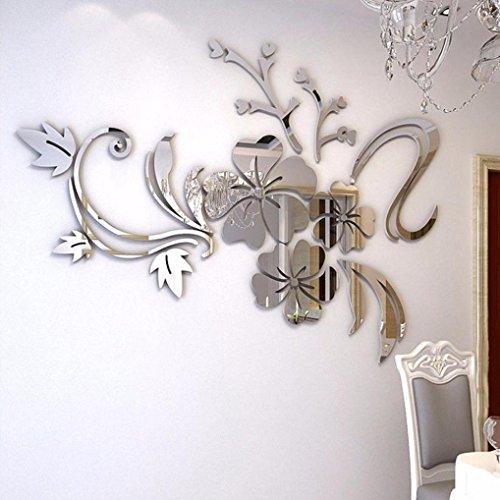 Coloré(TM) Miroir 3D Floral Sticker Sticker Deco Chambre Autocollant Mural Salon (Argent)