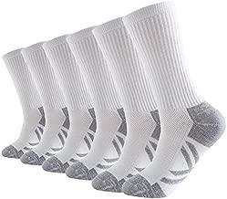 Men's 6 Pack Athletic Performance Crew Socks Reinforced heel & toe Running Cushion Work Socks
