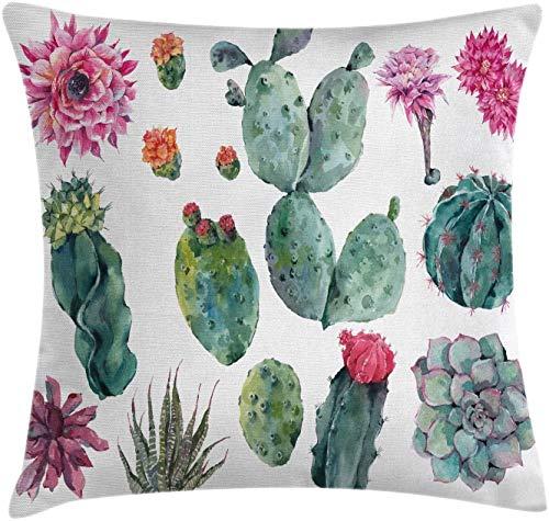 BONRI Nature Throw Pillow Cojín, Desert Botanical Herbal Cartoon Style Cactus Plant Flower con Estampado de espigas, Funda de Almohada Decorativa Cuadrada Decorativa, Verde Rosa , (16'x16 / 40x40cm
