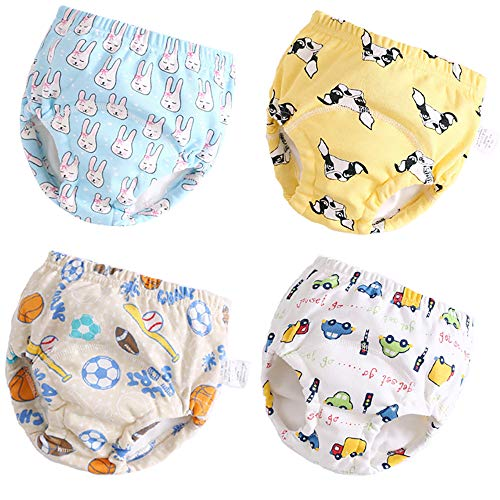 U0U 4 Pack Toddler Potty Training Pants Layered Cotton Training Underwear for Toddlers Boys S Blue