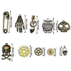 Mila-Amaz 80 Pcs Assorted Antique Steampunk Gears Metal Skeleton Pendant Charms Cogs for Jewelry Making Accessory - Bronze, Silver #4