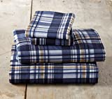 Flannel Sheets Queen Winter Bed Sheets Flannel Sheet Set Blue & Brown Plaid Flannel Sheets 100% Turkish Cotton Flannel Sheet Set. Stratton Collection (Queen, Blue & Brown Plaid)