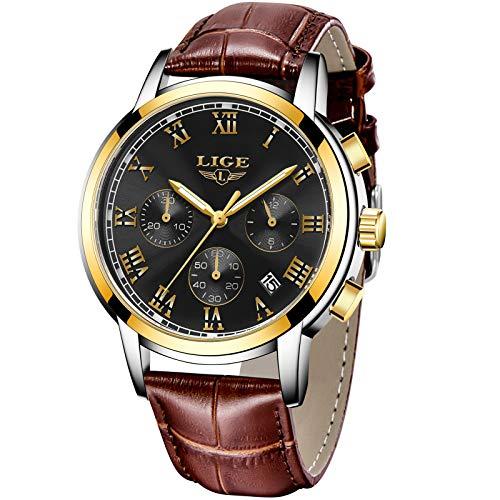 LIGE Hombre Relojes Moda Impermeable Deportes Cronógrafo Relojes Hombre Negro Analogicos Cuarzo Relojes Casual Marrón Cuero Reloj
