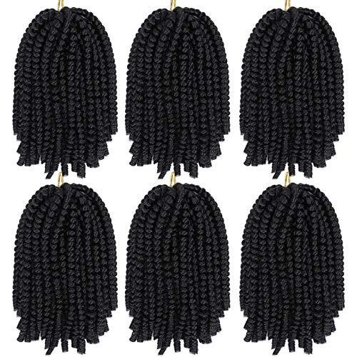 6 Pack Spring Twist Crochet Braiding Hair Bomb Twist Crochet Hair for Black Women Low Temperature Synthetic Hair Extensions for Butterfly Locs Fluffy Twist Braids 15 Strands 50g/Pack (8inch, 2#)