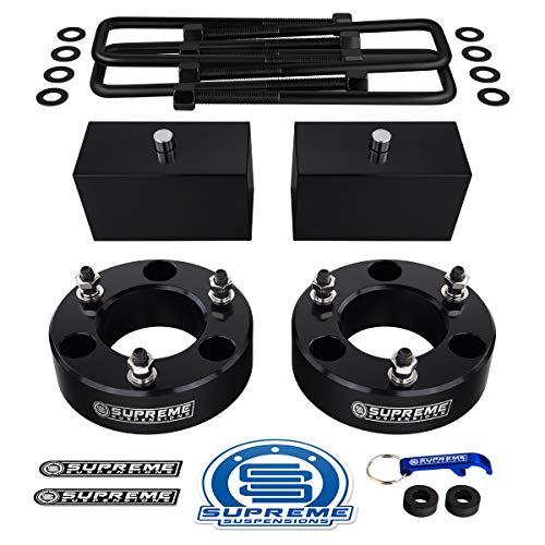 "Supreme Suspensions - Full Lift Kit for 2004-2020 Nissan Titan 3"" Front Strut Spacers + 3"" Rear Lift Blocks + Square Bend U-Bolts (Black)"