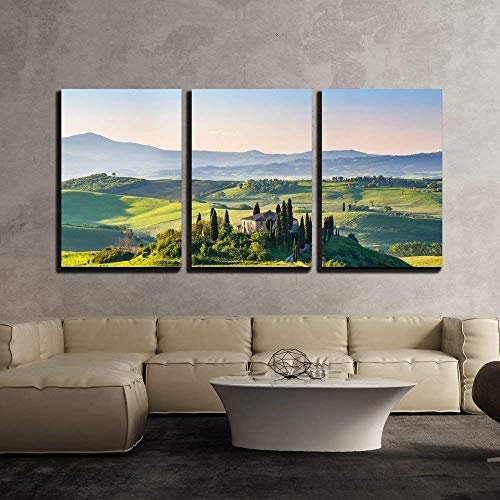 """wall26 - 3 Piece Canvas Wall Art - Beautiful Spring Landscape in Tuscany, Italy - Modern Home Art Stretched and Framed Ready to Hang - 16""""x24""""x3 Panels"""