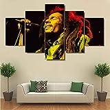 Yywife Bilder 5 Teilig leinWandbilder Bob-Marley-Poster Mit