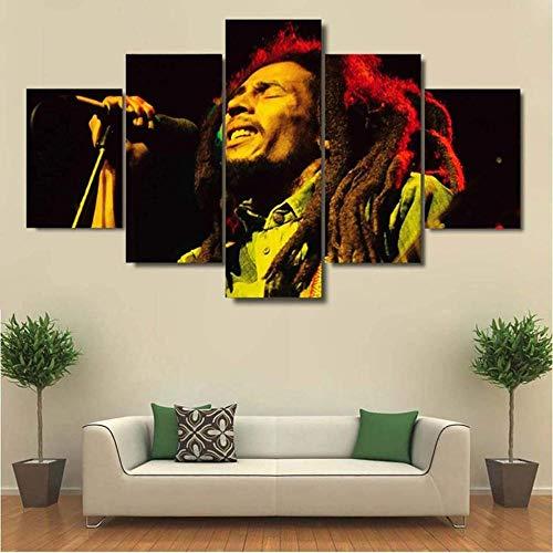Yywife Bilder 5 Teilig leinWandbilder Bob-Marley-Poster Mit Rahmen leinwanddrucke 5 stück wandkunst Leinwand Bilder XXL Wohnzimmer Wohnkultur 150X80Cm Rahmen Kreatives Geschenk