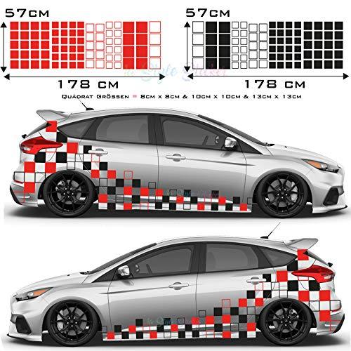 Auto Aufkleber RS ST Style Rechteck Seitendekor 172 Teilig, Tuning Sticker Auto Seitenaufkleber