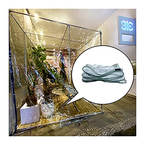 ZHANWEI Lona Impermeable Transparente, Perforado Transparente CLORURO DE POLIVINILO Cortinas De Vidrio Suave, Viento Y Lluvia Cubierta del Dosel, Usado para Guardería (Color : Claro, Size : 1.2x4m)